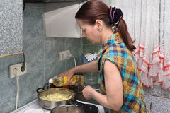 The woman makes a dinner Stock Images