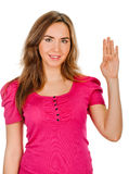 Woman makes hand  sign salute Stock Image