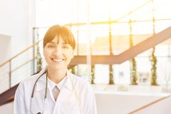 Woman makes medicine apprenticeship. For nurse studies royalty free stock photography