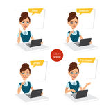 Woman makes order online. Four stages of process. Stock Photography