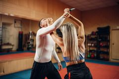 Free Woman Makes Punch To The Throat, Self-defense Royalty Free Stock Photo - 142354855