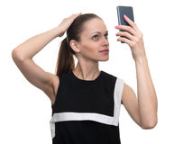 Woman makes a selfie Stock Photography