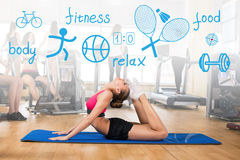 Woman makes sports exercise Stock Image