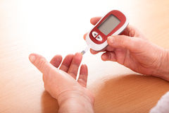 Woman makes testing  high blood sugar. Stock Images