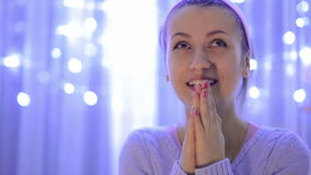 Woman Makes a Wish on Christmas stock video