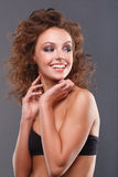 Woman with makeup. Close-up of a young, beautiful, brown-haired woman Royalty Free Stock Photography