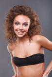 Woman with makeup. Close-up of a young, beautiful, brown-haired woman Stock Photography