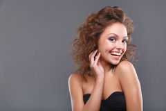Woman with makeup. Close-up of a young, beautiful, brown-haired woman Stock Photos