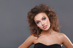 Woman with makeup. Close-up of a young, beautiful, brown-haired woman Royalty Free Stock Photo