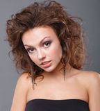 Woman with makeup. Close-up of a young, beautiful, brown-haired woman Stock Image