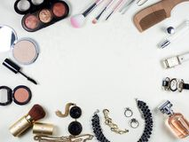Woman makeup, beauty and skin care supplies with  Stock Photos