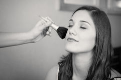 Woman makeup black and white Stock Image