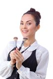 Woman with makeup brushes.  All isolated on white Stock Images