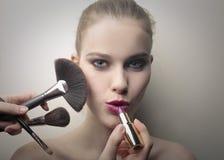 Woman makeup brushes Stock Image