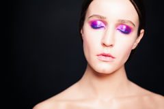 Woman with Makeup. Eyes Closed. Fashion Woman with Makeup. Eyes Closed stock photo