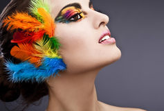 Woman with makeup and feathers. Head of a glamorous woman with heavy facial cosmetics or makeup and colorful feathers in her hair stock photography
