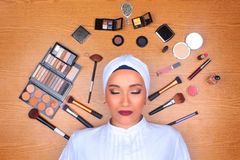 Woman with makeup on floor royalty free stock photos