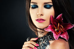 Woman with Makeup and Flower Royalty Free Stock Photo