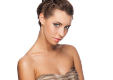 Woman with makeup and hairstyle Royalty Free Stock Photography