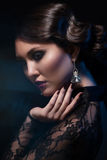 Woman with makeup and hairstyle stock photos