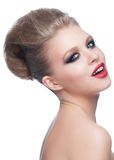 Woman with makeup and hairstyle Royalty Free Stock Photos