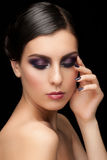 Woman with makeup and manicure Stock Photos