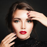 Woman with Makeup and Manicure Stock Photo