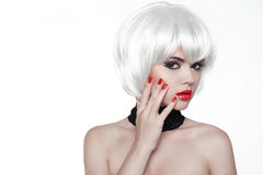 Woman Makeup and Polish nails. Red Lips and Manicured Hands. Fas Stock Image
