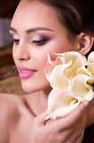Woman with makeup and precious decorations Royalty Free Stock Photo