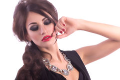 Woman with makeup and precious decorations Royalty Free Stock Image