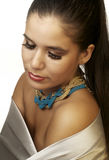 Woman with makeup wearing jewelery Royalty Free Stock Photography