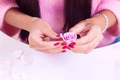 Woman Making Artificial Rose Stock Image