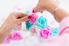 Woman Making Artificial Rose Stock Image