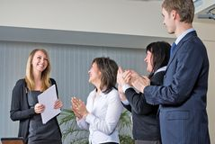 Woman making a business presentation Royalty Free Stock Image