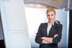 Woman making a business presentation. Business success growth chart. Business woman drawing graph showing profit growth on whiteboard Stock Image