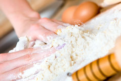 Woman making cake. Close up Royalty Free Stock Photo