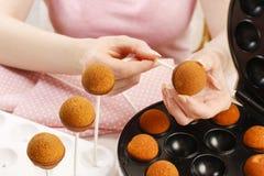 Woman making cake pops. Stock Photo