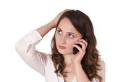 Woman is making a call Stock Image