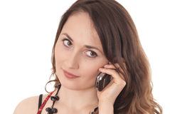 Woman is making a call. Young woman is making a call Royalty Free Stock Photo