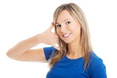 Woman making a call me gesture Stock Image