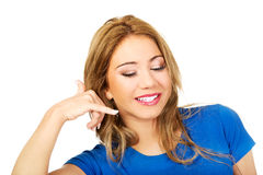 Woman making a call me sign. Stock Photography