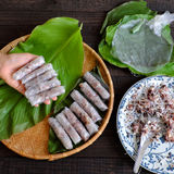 Woman making cha gio at home. Woman making spring rolls or cha gio at home, homemade food stuffing from meat and wrapper by rice paper, hand rolling Vietnamese stock photo