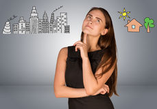Free Woman Making Choice Between City And Country Royalty Free Stock Photography - 50736027
