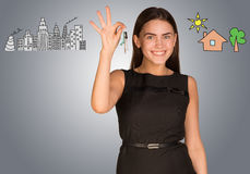 Woman Making Choice Between City And Country Stock Photo