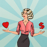 Woman Making a Choice Between Love and Money. Business Woman Stock Images