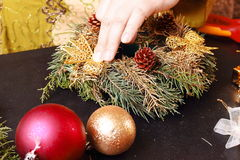 Woman making christmas advent wreath Stock Photography