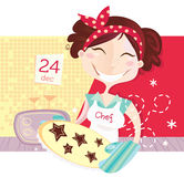 Woman is making christmas cookies stock illustration