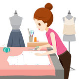 Woman Making Clothes Pattern Royalty Free Stock Images