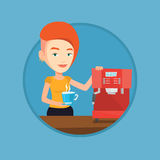 Woman making coffee vector illustration. Stock Image