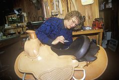 Woman making custom made western saddle, Three Forks Saddlery, Montana Royalty Free Stock Image